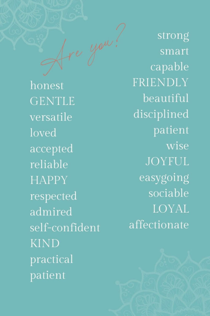 Positive attributes for empowerer self-love